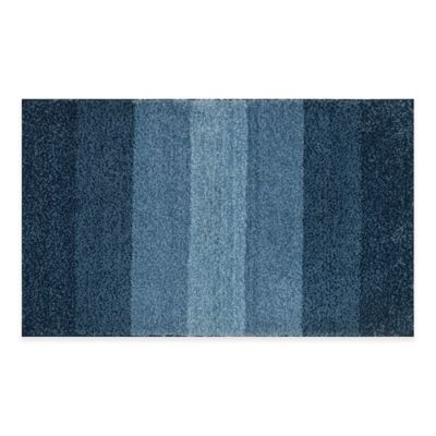 Adelaide Ombré Striped 20 Inch X 33 Inch Bath Mat In Navy