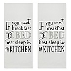 "Park B. Smith® ""Breakfast in Bed"" Kitchen Towels in White/Grey (Set of 2)"