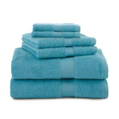 martex 6piece ringspun cotton towel set in light blue