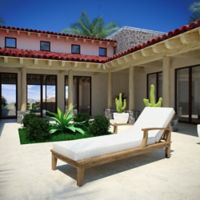 Modway Marina Teak Patio Single Chaise in Natural/White