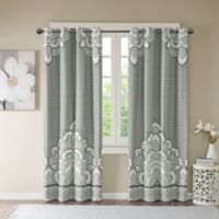 Intelligent Design Isabella Printed Blackout 84-Inch Window Curtain Panel in Grey