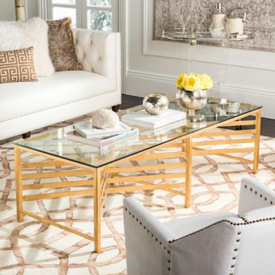 Safavieh Couture Lina Glass Coffee Table In Gold
