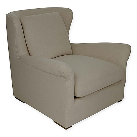 couture celeste linen club chair in natural bed bath beyond