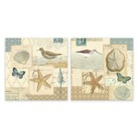 Coastal Collage 12-Inch x 12-Inch Printed Canvas Wall Art (Set of 2)