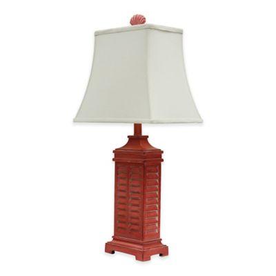 Delightful Coastal Shutter Table Lamp In Red