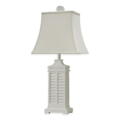 coastal shutter table lamp in white with cfl bulb