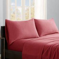 True North by Sleep Philosophy Micro Fleece Twin XL Sheet Set in Red