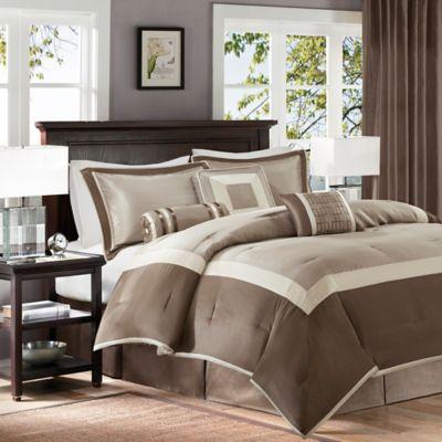 madison park genevieve 7piece queen comforter set in tan