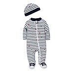 Little Me® Size 6M 2-Piece Striped Sports Star Footie and Hat Set in White