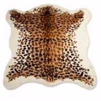 Luxe Faux Fur Faux Hide 4-Foot 3-Inch x 5-Foot Rug/Throw in El Paso Leopard