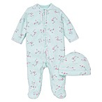Little Me® Preemie 2-Piece Aqua Flower Footie and Hat Set in Pink