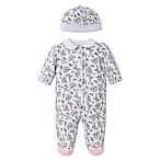 Little Me® Preemie 2-Piece Bird Toile Footie and Hat Set in Black/White