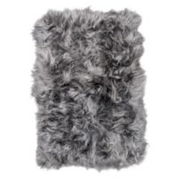 Natural 100% Icelandic Sheepskin Square Patch 4-Foot x 6-Foot Area Rug in Grey