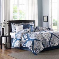 Madison Park Vienna Queen Comforter Set in Indigo