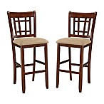 "Intercon Furniture Mission Casuals Dining Mission Casual 30"" Lattice Back Bar Stool (Set of 2)"