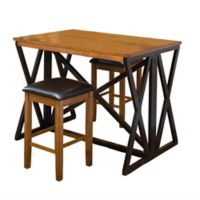 Intercon Furniture Siena 3-Piece Breakfast Bar With Backless Barstools in Black/Cider