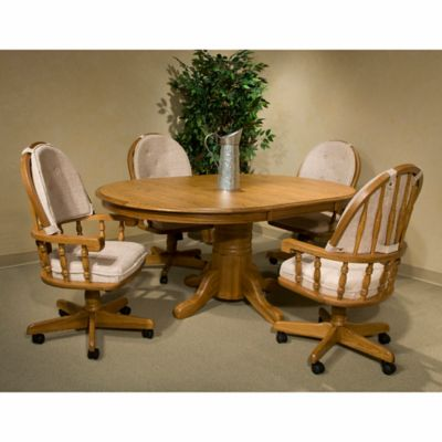 Intercon Furniture Classic Oak 5 Piece Dining Se With Removable Cushion Armchairs In Chestnut