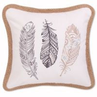 Levtex Home Miren Embroidered Feathers Square Throw Pillow in Grey