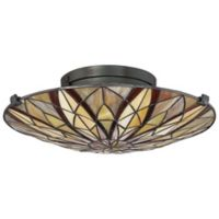 Quoizel Tiffany Collection Victory Floating Flush Mount Light Fixture in Bronze