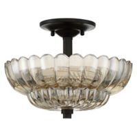 Quoizel Whitecap 3-Light Semi-Flush Mount Fixture in Mottled Cocoa with Glass Shade