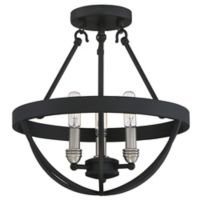 Quoizel Basin 3-Light Semi-Flush Mount Fixture in Earth Black and Brushed Nickel