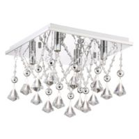 Quoizel Platinum Collection 4-Light Crystal Drape Flush Mount Ceiling Fixture in Polished Chrome