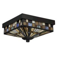 Quoizel Inglenook 2-Light Outdoor Flush-Mount Ceiling Fixture in Valiant Bronze with Glass Shade