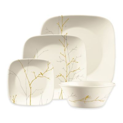 Market Street New York by Corelle Gilded Woods Square Dinnerware 4-Piece Place Setting  sc 1 st  Bed Bath \u0026 Beyond & Buy Corelle® Square™ Dinnerware Set from Bed Bath \u0026 Beyond