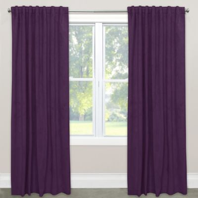 Skyline Blackout Velvet 120 Inch Rod Pocket Back Tab Window Curtain Panel In Purple