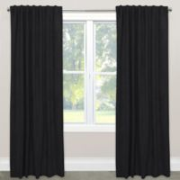 Skyline Blackout Velvet 63-Inch Rod Pocket/Back Tab Window Curtain Panel in Black