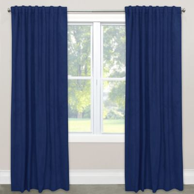Skyline Blackout Velvet 84 Inch Rod Pocket Back Tab Window Curtain Panel In Navy
