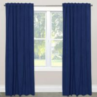 Skyline Blackout Velvet 84-Inch Rod Pocket/Back Tab Window Curtain Panel in Navy