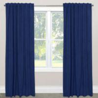 Skyline Velvet 84-Inch Rod Pocket/Back Tab Window Curtain Panel in Navy