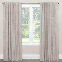 Skyline Velvet 96-Inch Rod Pocket/Back Tab Window Curtain Panel in Light Grey