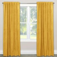 Skyline Blackout Velvet 108-Inch Rod Pocket/Back Tab Window Curtain Panel in Yellow