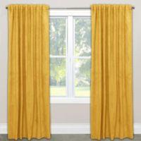 Skyline Velvet 84-Inch Rod Pocket/Back Tab Window Curtain Panel in Yellow