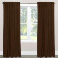 Skyline Blackout Velvet 84-Inch Rod Pocket/Back Tab Window Curtain Panel in Brown