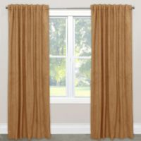 Skyline Velvet 120-Inch Rod Pocket/Back Tab Window Curtain Panel in Honey