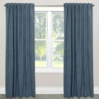 Skyline Velvet 120-Inch Rod Pocket/Back Tab Window Curtain Panel in Ocean
