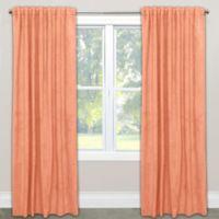 Skyline Velvet 120-Inch Rod Pocket/Back Tab Window Curtain Panel in Orange