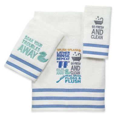 avanti bath words bath towel in white