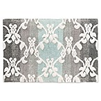 Watercolor Damask 20-Inch x 30-Inch Bath Rug in Aqua/Grey