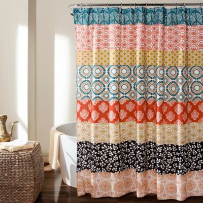 Bohemian Stripe Shower Curtain In Turquoise Orange