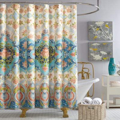 Jessica Simpson Aquarius Shower Curtain in BlueBuy Coral Fabric Shower Curtains from Bed Bath   Beyond. Yellow And Teal Shower Curtain. Home Design Ideas