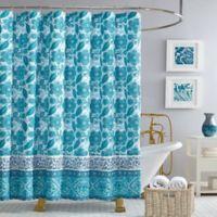Jessica Simpson Aqua Flora Shower Curtain in Blue