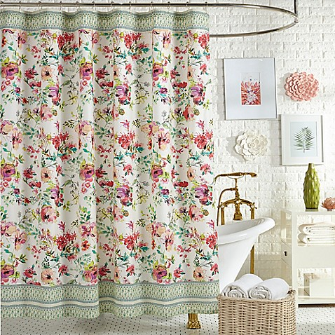 Jessica Simpson Watercolor Garden Shower Curtain in Pink - Bed Bath ...