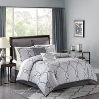 Madison Park Lavine 12-Piece California King Comforter Set in Silver