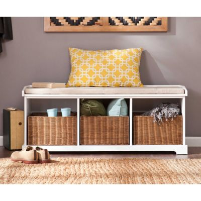 Elegant Southern Enterprises Loring Entryway Storage Bench In White