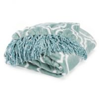 Orleans Printed Plush Throw Blanket in Blue