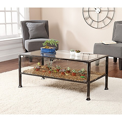 Southern enterprises terrarium display cocktail table for Coffee table enclosure